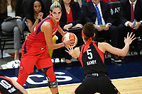 Washington, DC - Sept 17, 2019: Washington Mystics forward Elena Delle Donne (11) guarded by Las Vegas Aces forward Dearica Hamby (5) during WNBA Playoff semi final game between Las Vegas Aces and Washington Mystics at the Entertainment & Sports Arena in Washington, DC. The Mystics hold on to beat the Aces 97-95. (Photo by Phil Peters/Media Images International)