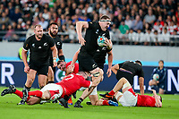 1st November 2019, Tokyo, Japan;  Brodie Retallick of New Zealand is tackled by Ken Owens of Wales during the 2019 Rugby World Cup Bronze medal match between New Zealand and Wales at Tokyo Stadium in Tokyo, Japan on November 1, 2019. (Photo by AFLO)  - Editorial Use