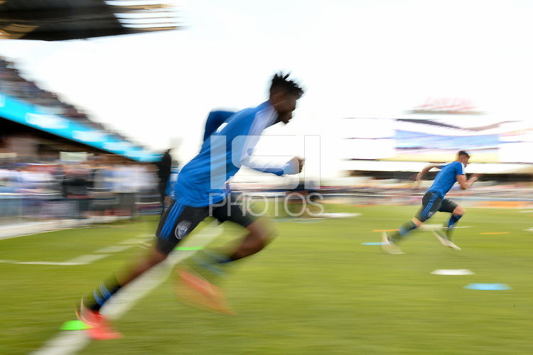 San Jose, CA - Saturday April 14, 2018: Fatai Alashe prior to a Major League Soccer (MLS) match between the San Jose Earthquakes and the Houston Dynamo at Avaya Stadium.