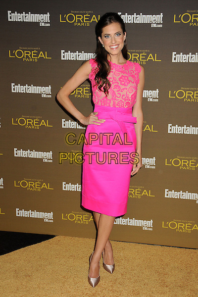 Allison Williams.Entertainment Weekly's 2012 Pre-Emmy Party held at Fig & Olive, West Hollywood, California, USA..September 21st, 2012.full length pink lace top skirt dress hand on hip sleeveless .CAP/ADM/BP.©Byron Purvis/AdMedia/Capital Pictures.