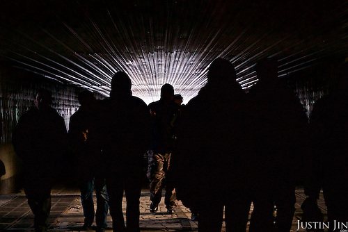 People walk in a tunnel under the train tracks that carries train that go between their home town of Slavutych to Chernobyl.<br /> <br /> Slavutych rises out of the ashes of the Chernobyl nuclear disaster in April 26, 1986. People living near the disaster area were largely moved to the new city, built from scratch for the sole purpose of housing the population displaced by the nuclear accident.