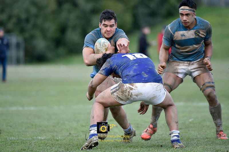 Action from the College Rugby - St Pat's Silverstream v St Pat's Wellington at SPC Silverstream, Upper Hutt, New Zealand on Wednesday 22 July 2015.<br /> Photo by Masanori Udagawa. <br /> www.photowellington.photoshelter.com.