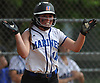 Tonianne Larson #14, Long Beach pitcher, reacts after crossing home plate to extend the Sailors' lead over East Meadow to 6-3 in the bottom of the third inning of Game 2 of the best-of-three Nassau County varsity softball Class AA final at Mitchel Athletic Complex on Wednesday, May 24, 2017. Long Beach went on to win 8-6 to even the series 1-1.