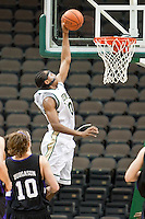 January 14, 2010:     Jacksonville forward Ayron Hardy (10) goes up for a goal during Atlantic Sun conference game action between the Jacksonville Dolphins and the Lipscomb Bisons at Veterans Memorial Arena in Jacksonville, Florida.  Jacksonville defeated Lipscomb 79-73.