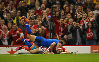 1st February 2020; Millennium Stadium, Cardiff, Glamorgan, Wales; International Rugby, Six Nations Rugby, Wales versus Italy; Josh Adams of Wales scores his sides first try of the match to make the score 14-0