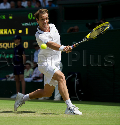 27.06.2011. Andy Murray GBR (4) v Richard Gasquet FRA (17). Richard in action. The Wimbledon Tennis Championships held at The All England Lawn Tennis and Croquet Club.