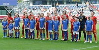 20180904 - LEUVEN , BELGIUM : Belgian team during line up pictured during the female soccer game between the Belgian Red Flames and Italy , the 8th and last game in the qualificaton for the World Championship qualification round in group 6 for France 2019, Tuesday 4 th September 2018 at OHL Stadion Den Dreef in Leuven , Belgium. PHOTO SPORTPIX.BE | DAVID CATRY