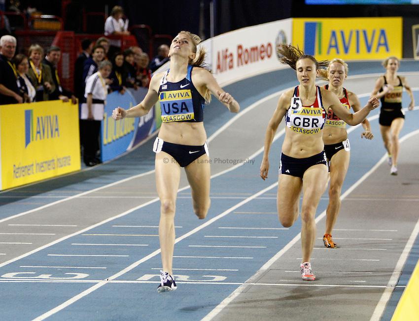 Photo: Richard Lane/Richard Lane Photography. Aviva International Match. 30/01/2010. USA's Heidi Dahl wins the women's 1500m.