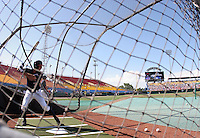 Virginia's John Barr takes batting practice before a 2009 College World Series game against Arkansas at Rosenblatt Stadium. (Photo by Michelle Bishop)