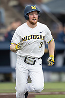 Michigan Wolverines outfielder Miles Lewis (3) runs to first base in the NCAA baseball game against the Michigan State Spartans on May 7, 2019 at Ray Fisher Stadium in Ann Arbor, Michigan. Michigan defeated Michigan State 7-0. (Andrew Woolley/Four Seam Images)
