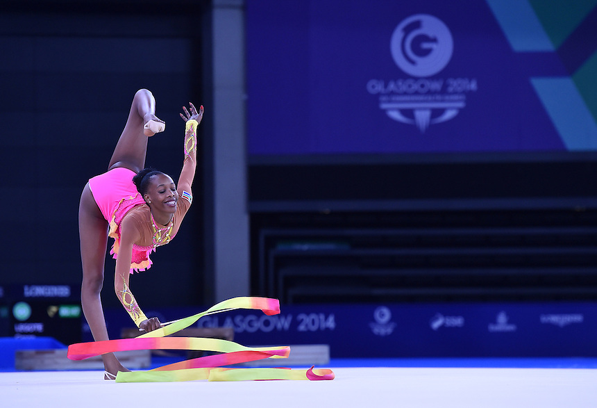Republic of South Africa's Grace Legote competes in rhythmic gymnastics team final and individual qualification subdivision 2<br /> <br /> Photographer Chris Vaughan/CameraSport<br /> <br /> 20th Commonwealth Games - Day 1 - Thursday 24th July 2014 - Rhythmic Gymnastics - The SSE Hydro - Glasgow - UK<br /> <br /> &copy; CameraSport - 43 Linden Ave. Countesthorpe. Leicester. England. LE8 5PG - Tel: +44 (0) 116 277 4147 - admin@camerasport.com - www.camerasport.com