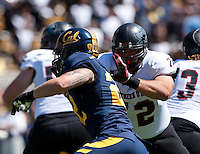September 8, 2012: Southern Utah's Russell Petersen protecting his line during a game against California at Memorial Stadium, Berkeley, Ca