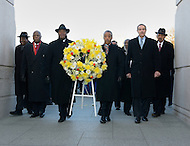 January 16, 2012  (Washington, DC)  A wreath was laid at the Martin Luther King Jr. Memorial in Washington.  (2nd from left to right)  Robert G. Stanton, Senior Advisor to Interior Secretary Ken Salazar; Harry E. Johnson, president/CEO MLK Memorial Project Foundation; Al Sharpton, president-National Action Network and host MSNBC Politics Nation; Vincent Gray, Mayor, District of Columbia; Dick Gregory, comedian/activist.   (Photo by Don Baxter/Media Images International)