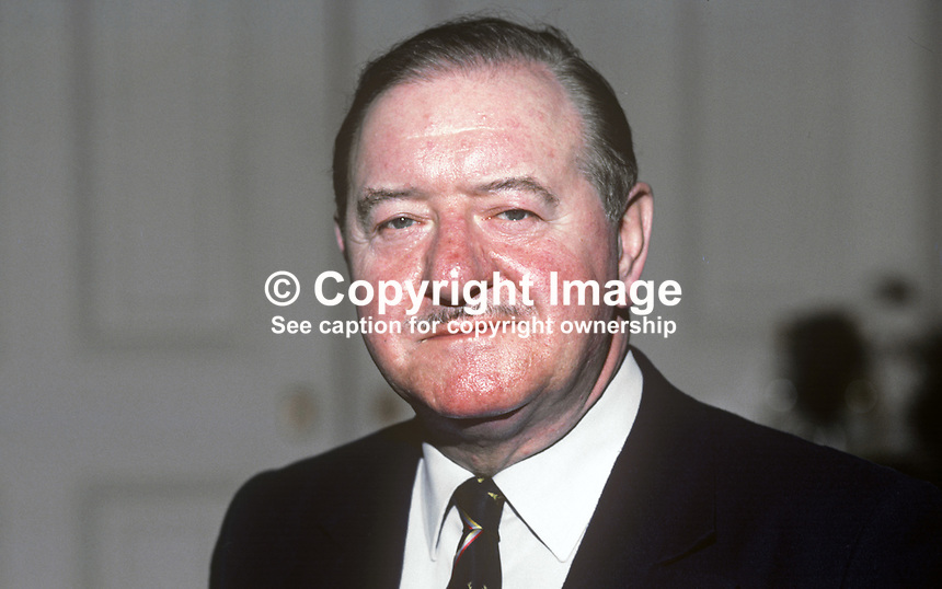 Eamon Kennedy, Rep of Ireland ambassador to UK. February 1982. 19820200017EK1.<br /> <br /> Copyright Image from Victor Patterson, 54 Dorchester Park, <br /> Belfast, UK, BT9 6RJ<br /> <br /> t1: +44 28 9066 1296 (from Rep of Ireland 048 9066 1296)<br /> t2: +44 28 9002 2446 (from Rep of Ireland 048 9002 2446)<br /> m: +44 7802 353836<br /> <br /> e1: victorpatterson@me.com<br /> e2: victorpatterson@gmail.com<br /> <br /> www.victorpatterson.com<br /> <br /> Please see my Terms and Conditions of Use at VICTORPATTERSON.COM. It is IMPORTANT that you familiarise yourself with them.<br /> <br /> Images used on the Internet must be visibly watermarked i.e. &copy;VICTORPATTERSON.COM within the body of the image and copyright metadata must not be deleted. Images used on the Internet have a size restriction of 4kbs and are chargeable at the then current NUJ rates.<br /> <br /> This image is only available for the use of the download recipient i.e. television station, newspaper, magazine, book publisher, etc, and must not be passed on to any third party. It is also downloaded on condition that each and every usage is notified within 7 days to victorpatterson@me.com<br /> <br /> The right of Victor Patterson to be identified as the author is asserted in accordance with The Copyright Designs And Patents Act (1988).