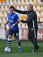 Preston North End's Josh Harrop shares a joke with First team coach Frankie McAvoy<br /> <br /> Photographer Dave Howarth/CameraSport<br /> <br /> The Carabao Cup First Round - Bradford City v Preston North End - Tuesday 13th August 2019 - Valley Parade - Bradford<br />  <br /> World Copyright © 2019 CameraSport. All rights reserved. 43 Linden Ave. Countesthorpe. Leicester. England. LE8 5PG - Tel: +44 (0) 116 277 4147 - admin@camerasport.com - www.camerasport.com
