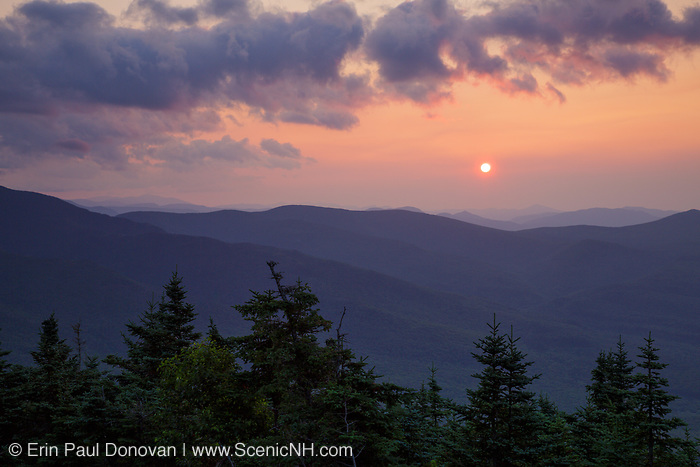 Sunrise from the summit of Mount Tecumseh in Waterville Valley, New Hampshire during the summer months.