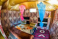 Interior, goat hair tent, Captain's Desert Camp, Arabian Desert, Wadi Rum, Jordan.