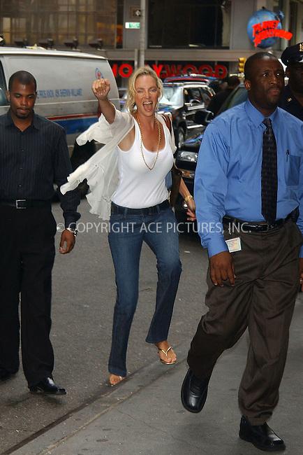 WWW.ACEPIXS.COM . . . . . ....Uma Thurman visitS MTV's 'TRL' to promote her latest movie 'My Super Ex-Girlfriend'. ......Please byline: KRISTIN CALLAHAN - ACEPIXS.COM.. . . . . . ..Ace Pictures, Inc:  ..(212) 243-8787 or (646) 769 0430..e-mail: info@acepixs.com..web: http://www.acepixs.com