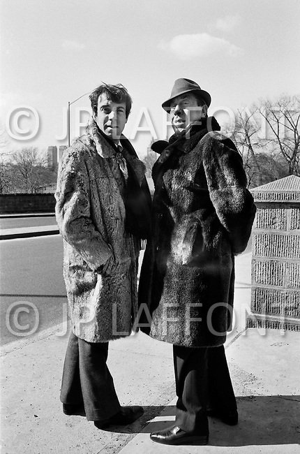 16 Feb 1968, Manhattan, New York City, New York State, USA. French comedian Fernandel and his son Franck wearing fur coats in New York's Central Park the day after his performance at Carnegie Hall.