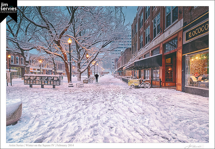 "The fourth print in a four part series entitled: ""Winter on the Square"".  Please see the ""Fine Art 
