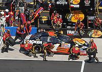 Apr 29, 2007; Talladega, AL, USA; Nascar Nextel Cup Series driver Martin Truex Jr (1) pits during the Aarons 499 at Talladega Superspeedway. Mandatory Credit: Mark J. Rebilas