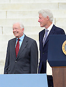 Former United States Presidents Jimmy Carter, left, and Bill Clinton, right, arrive to make remarks at the Let Freedom Ring ceremony on the steps of the Lincoln Memorial to commemorate the 50th Anniversary of the March on Washington for Jobs and Freedom.<br /> Credit: Ron Sachs / CNP