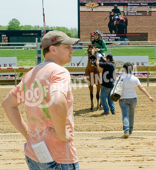 Jamie Ness after winning with the 1st race of the 2012 meet at Delaware Park on 5/12/12