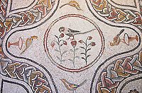 Roman floor mosaic with birds and floral decorations.  From via Imperale, now Columbus, near the Porta Ardeatina, Rome. 3rd century AD. National Roman Museum, Rome, Italy