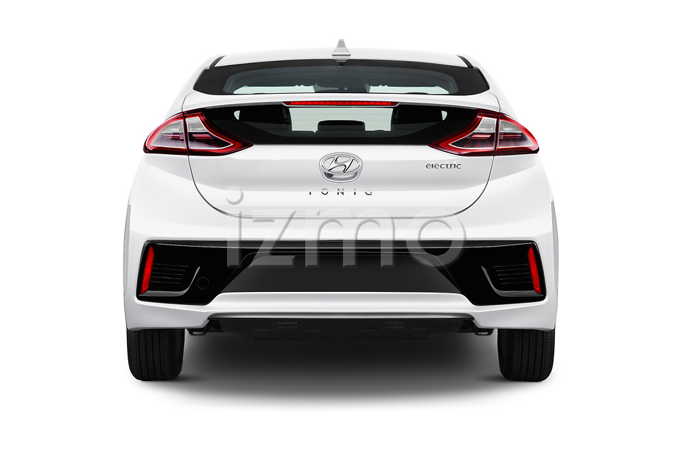 Straight rear view of 2017 Hyundai Ioniq-Electric Electric-Limited 5 Door Hatchback Rear View  stock images