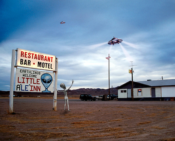 An Alien waits for his ride outside the Inn in Rachel, Nevada; just outside Area 51