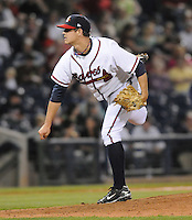 9 April 2008: RHP Brad Nelson (48) of the Mississippi Braves, Class AA affiliate of the Atlanta Braves, in the season's home opener against the Mobile BayBears at Trustmark Park in Pearl, Miss. Photo by:  Tom Priddy/Four Seam Images