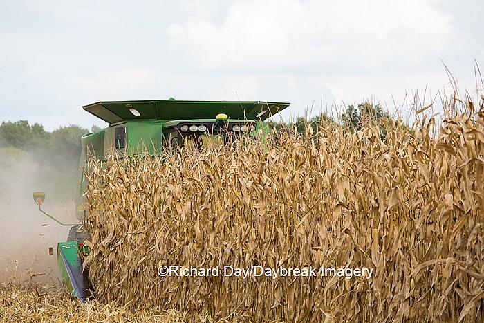 63801-07103 Farmer harvesting corn, Marion Co., IL