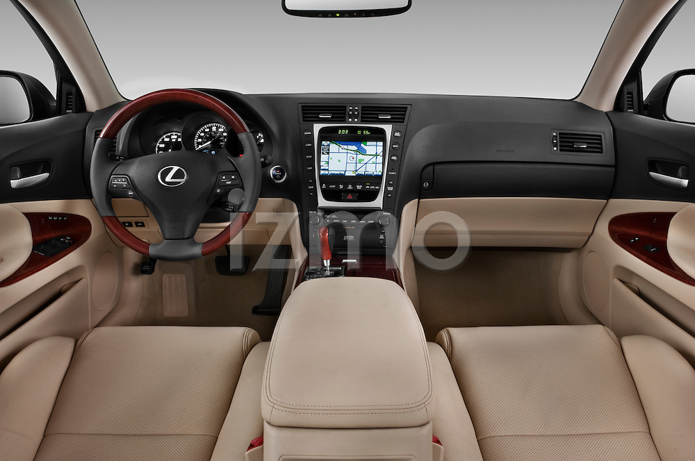 Straight dashboard view of a 2010 Lexus GS Hybrid.