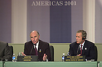 April 22,  2001, Montreal, Quebec, Canada<br />  US president George W, Bush (R) and<br /> Argentina President Fernando De La Rua (L)  at the closing press conference of the Summit of the Americas , April 22, 2001 in Quebec City, CANADA.