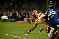Blade Thomson in action during the Super Rugby - Hurricanes v Blues at FMG Stadium, Palmerston North, New Zealand on Friday 13 March 2015. <br /> Photo by Masanori Udagawa. <br /> www.photowellington.photoshelter.com.