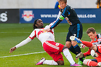 Philadelphia Union goalkeeper Zac MacMath (18) makes a save. The New York Red Bulls defeated the Philadelphia Union 2-1 during a Major League Soccer (MLS) match at Red Bull Arena in Harrison, NJ, on March 30, 2013.