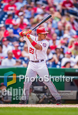 20 September 2015: Washington Nationals catcher Pedro Severino stands at bat in his Major League debut, subsequently hitting a double against the Miami Marlins at Nationals Park in Washington, DC. The Nationals defeated the Marlins 13-3 to take the final game of their 4-game series. Mandatory Credit: Ed Wolfstein Photo *** RAW (NEF) Image File Available ***