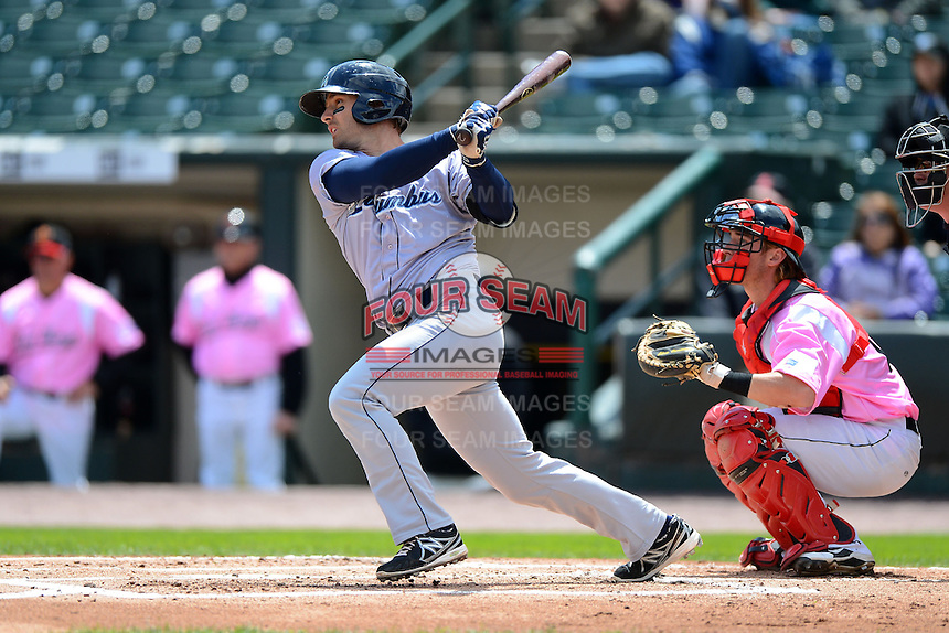 Columbus Clippers third baseman Ryan Rohlinger #2 during a game against the Rochester Red Wings on May 12, 2013 at Frontier Field in Rochester, New York.  Rochester defeated Columbus 5-4.  (Mike Janes/Four Seam Images)