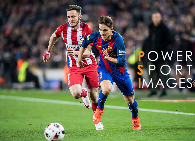 Denis Suarez Fernandez (r) of FC Barcelona battles for the ball with Saul Niguez Esclapez of Atletico de Madrid during their Copa del Rey 2016-17 Semi-final match between FC Barcelona and Atletico de Madrid at the Camp Nou on 07 February 2017 in Barcelona, Spain. Photo by Diego Gonzalez Souto / Power Sport Images