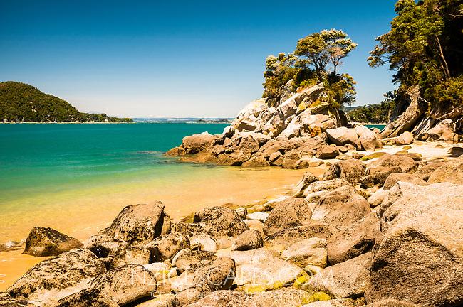 Rock formations at Watering Cove on Abel Tasman Coastal Track, Abel Tasman NP, Nelson Region, New Zealand