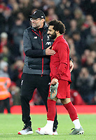 27th October 2019; Anfield, Liverpool, Merseyside, England; English Premier League Football, Liverpool versus Tottenham Hotspur;  Liverpool manager Jurgen Klopp with Mohammed Salah of Liverpool after the final whistle - Strictly Editorial Use Only. No use with unauthorized audio, video, data, fixture lists, club/league logos or 'live' services. Online in-match use limited to 120 images, no video emulation. No use in betting, games or single club/league/player publications