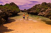 A honeymoon couple on a deserted island, Vatulele Island Resort, Fiji Islands