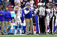 Sunday, October 2, 2016: Buffalo Bills head coach Rex Ryan signals to referee Pete Morelli (135) during the NFL game between the Buffalo Bills and the New England Patriots held at Gillette Stadium in Foxborough Massachusetts. Buffalo defeats New England 16-0. Eric Canha/Cal Sport Media