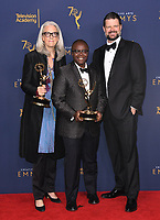 09 September 2018 - Los Angeles, California - Joselyn Barnes, Yance Ford, Alan Jacobson. 2018 Creative Arts Emmy Awards - Press Room held at Microsoft Theater. <br /> CAP/ADM/BT<br /> &copy;BT/ADM/Capital Pictures