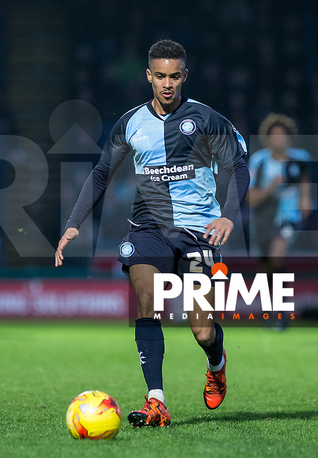 Paris Cowan-Hall of Wycombe Wanderers in action during the Sky Bet League 2 match between Wycombe Wanderers and Leyton Orient at Adams Park, High Wycombe, England on 23 January 2016. Photo by Andy Rowland / PRiME Media Images.