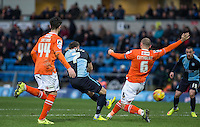 Garry Thompson of Wycombe Wanderers fires a shot at goal during the Sky Bet League 2 match between Wycombe Wanderers and Luton Town at Adams Park, High Wycombe, England on 6 February 2016. Photo by Andy Rowland.