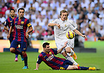 "Leo Messi and Luka Modric during the Spanish league ""Clasico"" football match Real Madrid CF vs FC Barcelona at the Santiago Bernabeu stadium in Madrid on October 25, 2014.  PHOTOCALL3000 / DP"