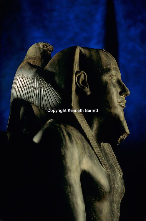 Statue of Pharaoh Khafre with falcon god Horus, Egyptian Museum, Cairo