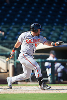 Peoria Javelinas D.J. Stewart (15), of the Baltimore Orioles organization, during a game against the Surprise Saguaros on October 20, 2016 at Surprise Stadium in Surprise, Arizona.  Peoria defeated Surprise 6-4.  (Mike Janes/Four Seam Images)