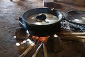 Xingu Indigenous Park, Mato Grosso State, Brazil. Aldeia Lahatua (Kuikuro). Mingau of manioc and sweet potatoes.